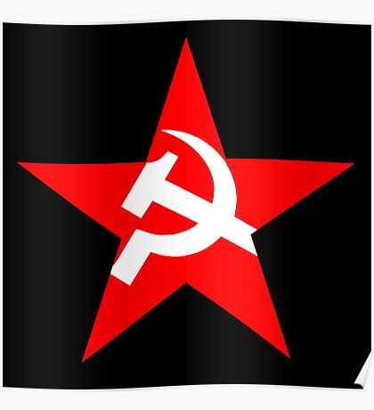 STAR, Red Star, Hammer and sickle, in five leg star. Communism, BLACK Poster