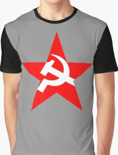 Red Star, Hammer and sickle, in five leg star. Communism, BLACK Graphic T-Shirt