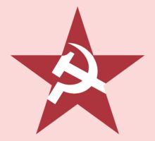 Red Star, Hammer and sickle, in five leg star. Communism, BLACK One Piece - Long Sleeve
