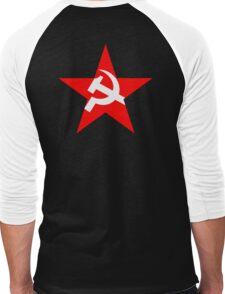 STAR, Red Star, Hammer and sickle, in five leg star. Communism, BLACK Men's Baseball ¾ T-Shirt