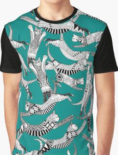 cat party teal blue Graphic T-Shirt
