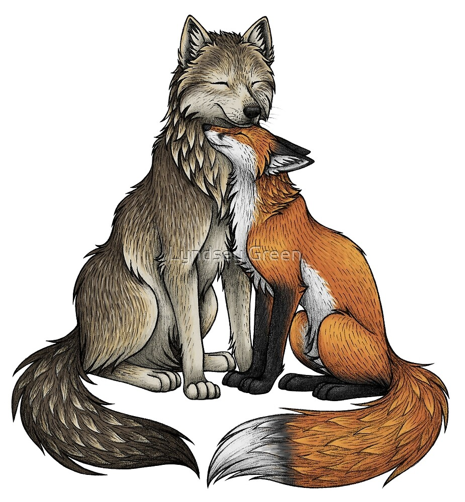 Quot Wolf Amp Fox Quot By Lyndsey Green Redbubble