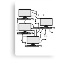lanparty networked gamer gamble connected pattern mouse keyboard screen tv pc computer display image design Canvas Print