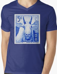 Canada postage stamp, 1956, mountain goat Mens V-Neck T-Shirt