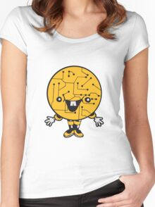 laughing face funny comic cartoon cyborg robot head ball circle electronic lines data man male figure sweet cute Women's Fitted Scoop T-Shirt
