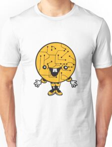 laughing face funny comic cartoon cyborg robot head ball circle electronic lines data man male figure sweet cute Unisex T-Shirt