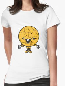 laughing face funny comic cartoon cyborg robot head ball circle electronic lines data man male figure sweet cute Womens Fitted T-Shirt