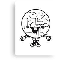 laughing face funny comic cartoon cyborg robot head ball circle electronic lines data man male figure sweet cute Canvas Print