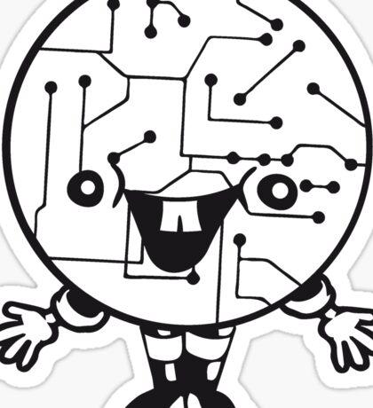 laughing face funny comic cartoon cyborg robot head ball circle electronic lines data man male figure sweet cute Sticker