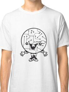 laughing face funny comic cartoon cyborg robot head ball circle electronic lines data man male figure sweet cute Classic T-Shirt
