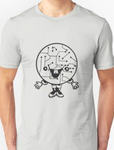 laughing face funny comic cartoon cyborg robot head ball circle electronic lines data man male figure sweet cute T-Shirt