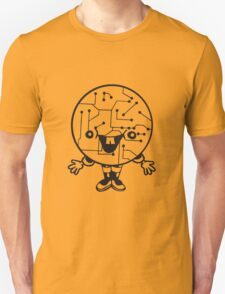 laughing face funny comic cartoon cyborg robot head ball circle electronic lines data man male figure sweet cute Unisex T-Shirt