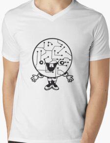 laughing face funny comic cartoon cyborg robot head ball circle electronic lines data man male figure sweet cute Mens V-Neck T-Shirt