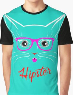 Hipster Kitty Cat Graphic T-Shirt