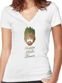 Happy Little Watercolor Trees Women's Fitted V-Neck T-Shirt