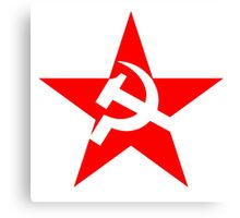 Red Star, Hammer and sickle, in five leg star. Communism, Russia Canvas Print