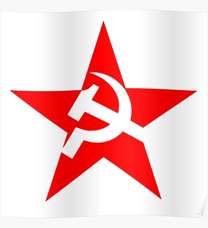 STAR, Red Star, Hammer and sickle, in five leg star. Communism, Russia Poster