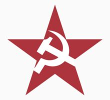 Red Star, Hammer and sickle, in five leg star. Communism One Piece - Short Sleeve