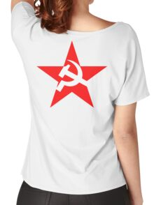 STAR, Red Star, Hammer and sickle, in five leg star. Communism, Russia Women's Relaxed Fit T-Shirt