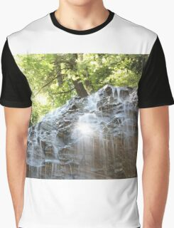 Top part of Tiffany Falls with sun beams. Horizontal orientation. Graphic T-Shirt