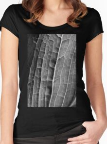 Mono Macro Leaf Women's Fitted Scoop T-Shirt