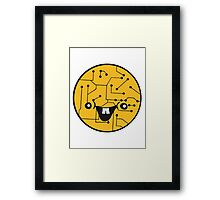 laughing face funny comic cartoon cyborg robot head ball circle electronic lines data Framed Print