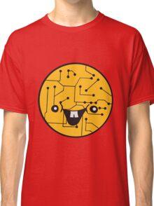 laughing face funny comic cartoon cyborg robot head ball circle electronic lines data Classic T-Shirt