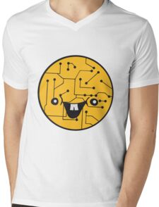 laughing face funny comic cartoon cyborg robot head ball circle electronic lines data Mens V-Neck T-Shirt