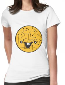 laughing face funny comic cartoon cyborg robot head ball circle electronic lines data Womens Fitted T-Shirt