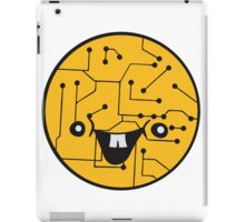laughing face funny comic cartoon cyborg robot head ball circle electronic lines data iPad Case/Skin