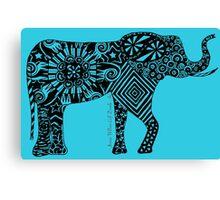 Elephantine Doodles BW Canvas Print