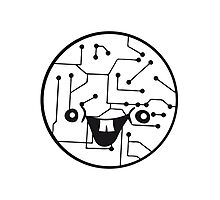 laughing face funny comic cartoon cyborg robot head ball circle electronic lines data Photographic Print
