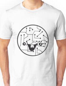 laughing face funny comic cartoon cyborg robot head ball circle electronic lines data Unisex T-Shirt