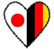 Japan and Germany Heart Photographic Print