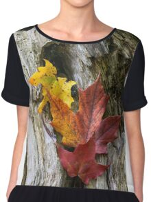 Maple Leaves Coloured from Autumn in yellow to red Chiffon Top