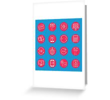Internet Banking Icons Set in flat style Greeting Card