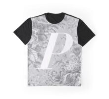 'P' Letter, Vintage Literary Print Graphic T-Shirt