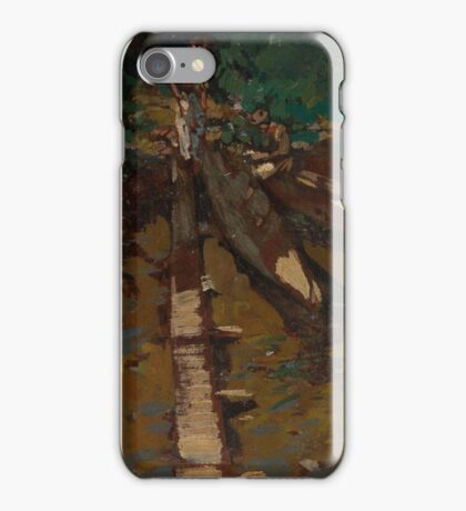 KONSTANTIN KOROVIN,  Fishermen Mending a Boat, Garusovo, signed, inscribed in Cyrillic Garusovo and dated  iPhone Case/Skin