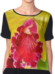 red Orchid with yellow petals... Chiffon Top