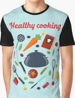 Kitchen Healthy Cooking Concept with Different Vegetables and Cutlery.  Graphic T-Shirt
