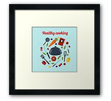 Kitchen Healthy Cooking Concept with Different Vegetables and Cutlery.  Framed Print