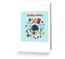 Kitchen Healthy Cooking Concept with Different Vegetables and Cutlery.  Greeting Card