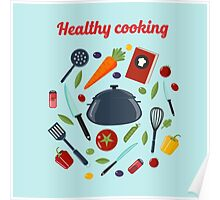 Kitchen Healthy Cooking Concept with Different Vegetables and Cutlery.  Poster