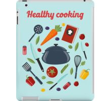 Kitchen Healthy Cooking Concept with Different Vegetables and Cutlery.  iPad Case/Skin