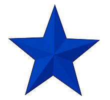 BLUE STAR, Blue sectioned star Photographic Print