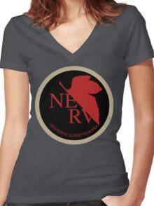 NERV NGE Neon Genesis Evangelion Sticker Women's Fitted V-Neck T-Shirt