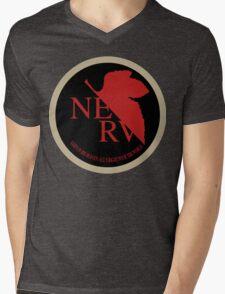 NERV NGE Neon Genesis Evangelion Sticker Mens V-Neck T-Shirt