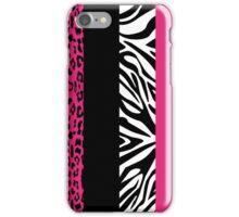 Hot Pink Zebra and Leopard Animal Print Stripes iPhone Case/Skin