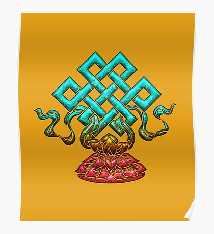Tibetan Endless Knot, Lotus Flower, Buddhism Poster