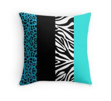Aqua Blue Zebra and Leopard Animal Print Stripes Throw Pillow
